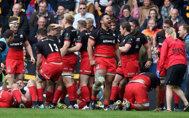 Saracens celebrate following their win over Wasps at the Madejski. | Photo source: Telegraph.