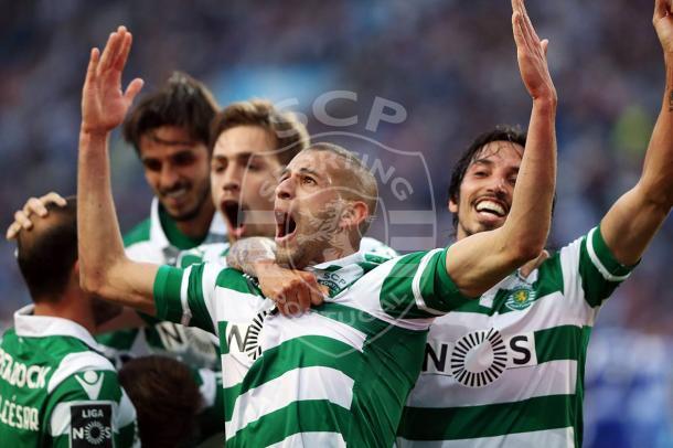 Slimani fez os leões festejarem por duas ocasiões // Foto: Facebook do Sporting CP