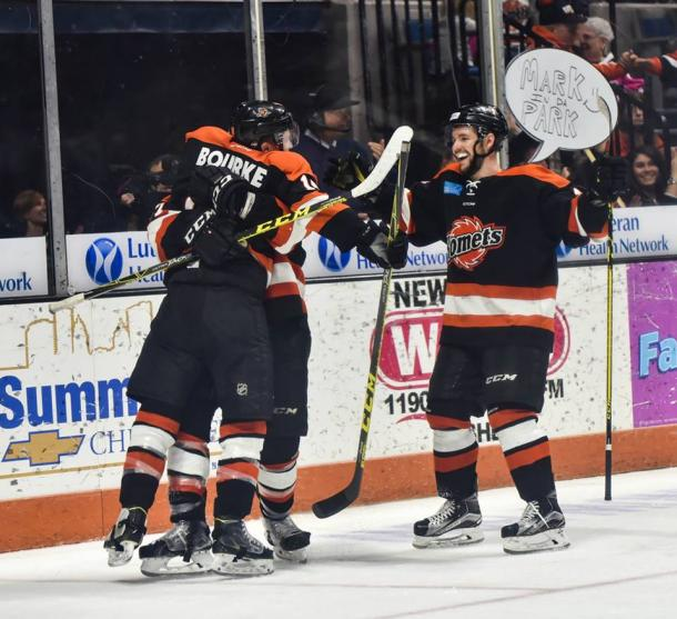 The Komets celebrate after a goal. Credit: Eye 2 Eye Portraits
