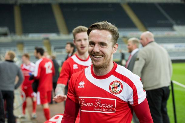 Bainbridge scored a brace to help his side lift their third trophy in as many seasons (Photo: Chris Chambers/ CJC Photo)