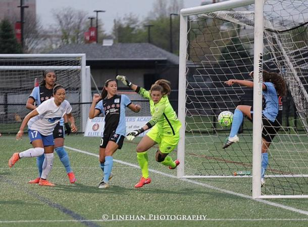Colaprico's clearance off the goal line helped Chicago get the win over Boston (Photo credit : Linehan Photography)