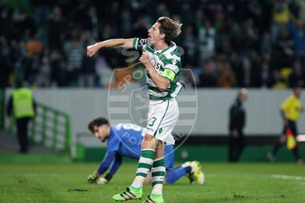 O capitão leonino alcançou o empate com um golaço - Foto: Facebook Oficial do Sporting CP