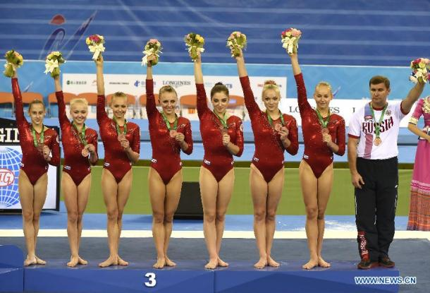 The Russian Women's Gymnastics Team after winning silver the 2014 World Artistic Gymnastics Championships in Nanning/Getty Images