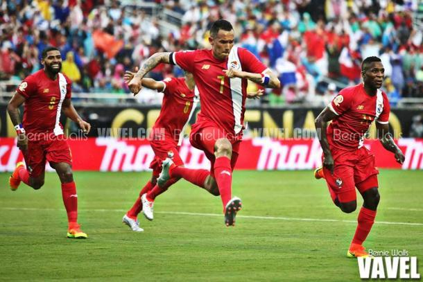 Blas Perez celebrates scoring the opening goal