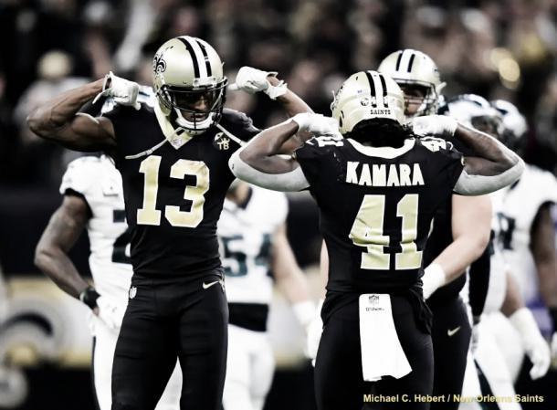 Thomas e Kamara contra os Eagles. Foto: Reprodução/NO Saints