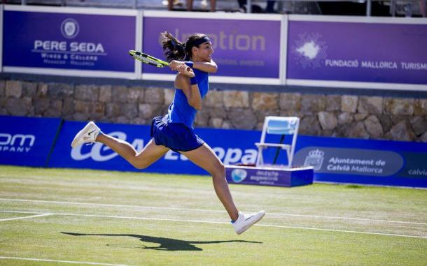 Caroline Garcia hits a backhand at the Mallorca Open/Getty Images