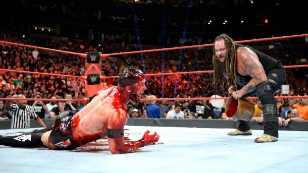 The Demon Finn Balor may have been awoken following a bloodbath by Bray Wyatt (image: wwe)