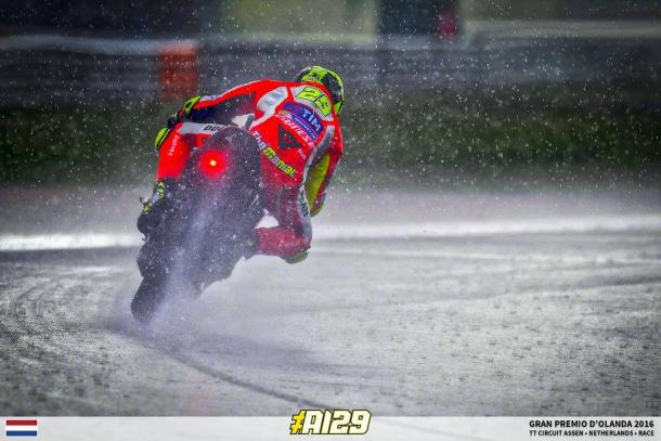 Iannone aboard his factory Ducati at the Assen GP in horrific conditions - www.facebook.com (Andrea Iannone)
