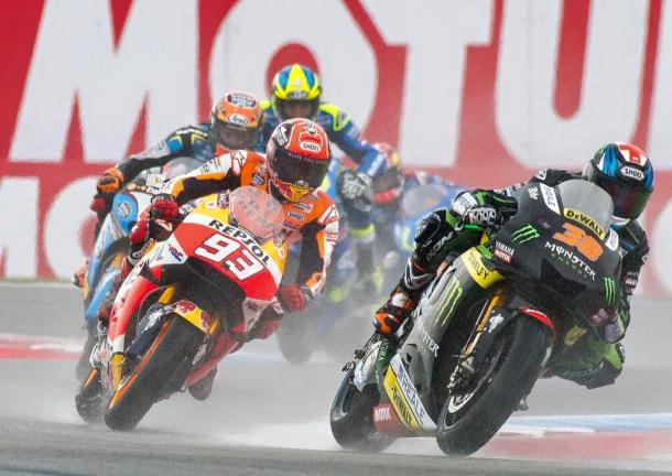 Independent rider Bradley Smith ahead of former MotoGP Champion Marc Marquez in the wet - www.facebook.com (Bradley Smith)