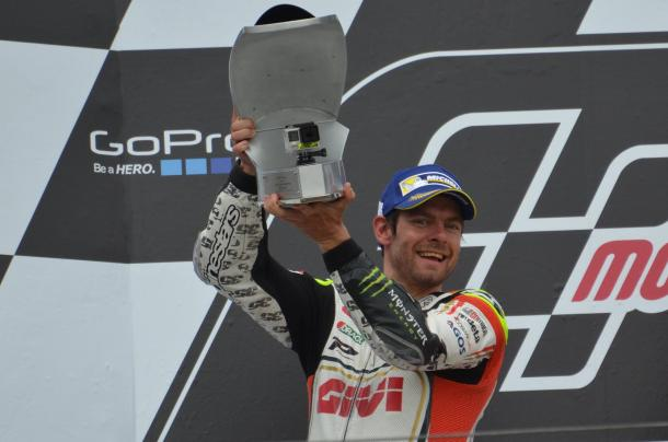 Father-to-be Crutchlow made up with his trophy after claiming second on the podium - www.facebook.com (Cal Crutchlow)