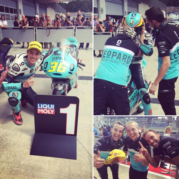 The Leopard Team celebrating the rookie's first ever pole in parc ferme - www.facebook.com (Leopard Moto)