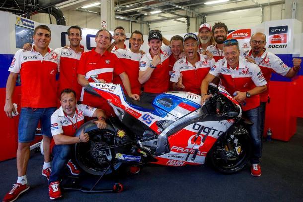 Celebrations in the Octo Pramac Yakhnich Ducati pit garage - www.facebook.com (Pramac Racing)