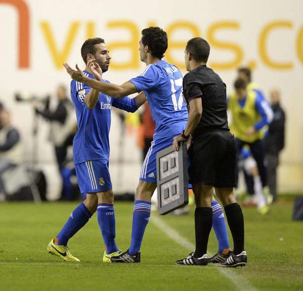 Carvajal y Arbeloa, laterales diestros del Real Madrid en la 13/14 | Foto: Agencia EFE