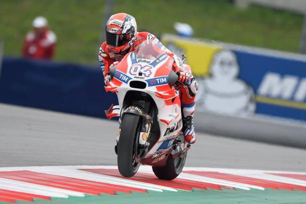 Dovizioso taking to the rumble strips at the Red Bull Ring - www.facebook.com (Andrea Dovizioso)