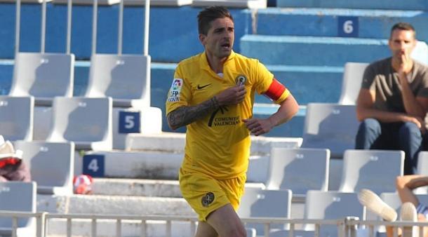Portillo celebra un gol en su segunda etapa en el Hércules