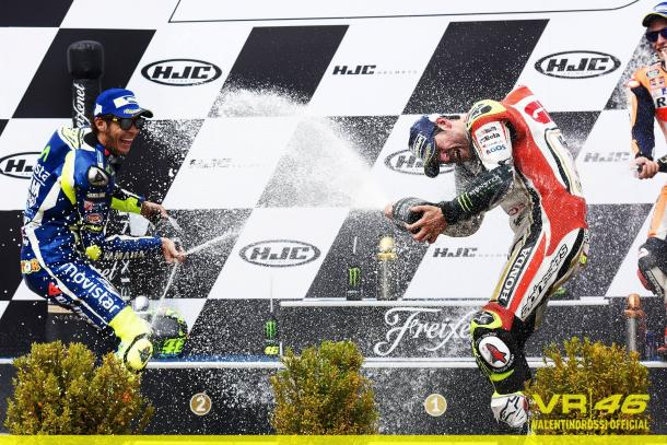 Celebrating on the podium with race winner Cal Crutchlow - www.facebook.com (Valentino Rossi)