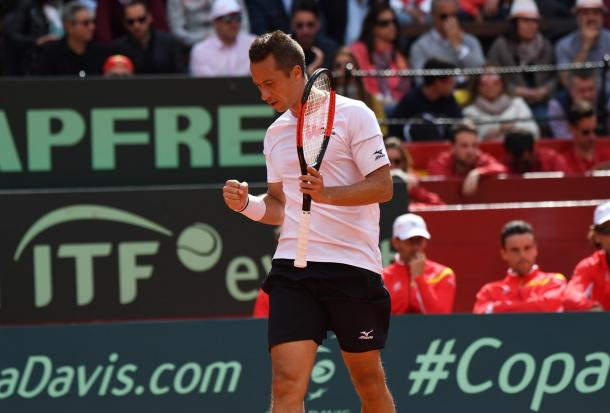 Philipp Kohlschreiber comes into Marrakech, where he lost a heart-breaking final in 2017, on the heels of a disappointing 5th set 5th rubber loss in Davis Cup to Davis Ferrer this week. Photo: Paul Zimmer/Davis Cup