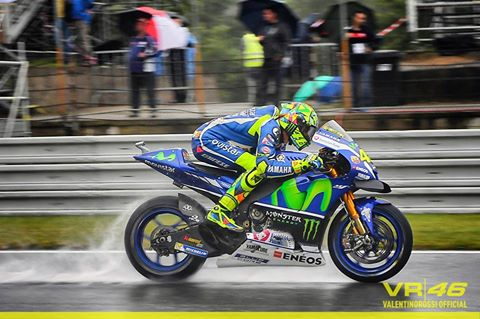 Rossi during the wet morning warm-up session at Brno - www.facebook.com (Valentino Rossi)