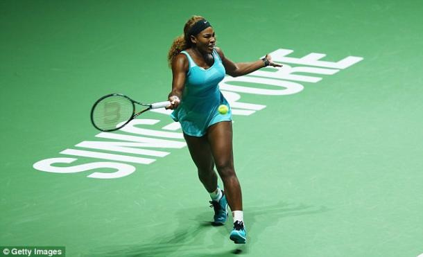Serena Williams hits a forehand at the 2014 WTA Finals in Singapore/Getty Images