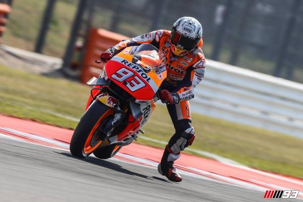 Marquez wrestling the Honda around - www.facebook.com (Marc Marquez)