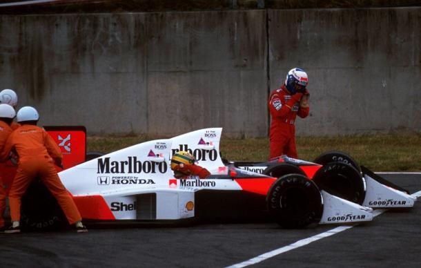 Toque de Prost y Senna en Japón (Fuente: F1)
