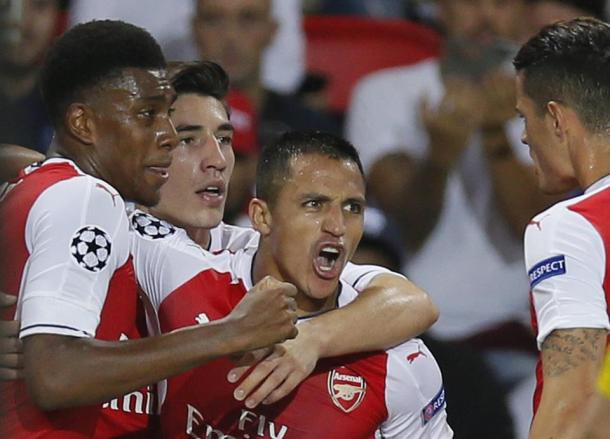 Alexis celebrates the equaliser. | Source: Sky Sports