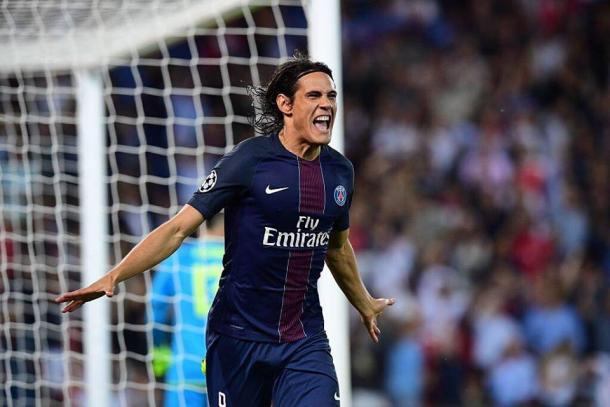 Cavani celebrates opening the scoring. | Source: BBC