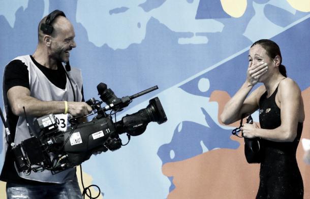 Jessica Vall tras lograr la medalla de bronce en Kazán 2015. / Foto: EFE