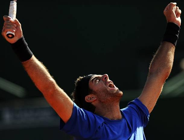 Argentina's Juan del Potro celebrates his victory over France's Richard Gasquet on their Estoril Open tennis tournament final at Jamor stadium in Oeiras, on the outskirts of Lisbon, on May 6, 2012. Del Potro won 6-4 and 6-2. (Photo by FRANCISCO LEONG/AFP/GettyImages)