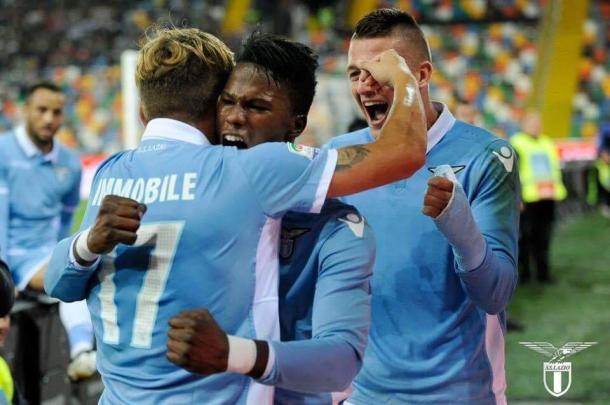 Keita, Immobile y Milinkovic celebran un gol ante el Udinese | Foto: Lazio