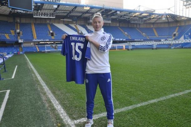 England poses with her new shirt and number. | Photo: Chelsea Ladies FC