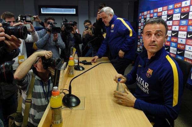 Luis Enrique facing the press. | Source: AFP