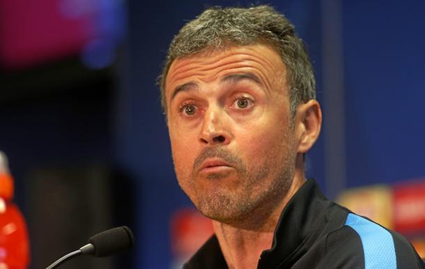 Luis Enrique faces press. Photo: MARCA