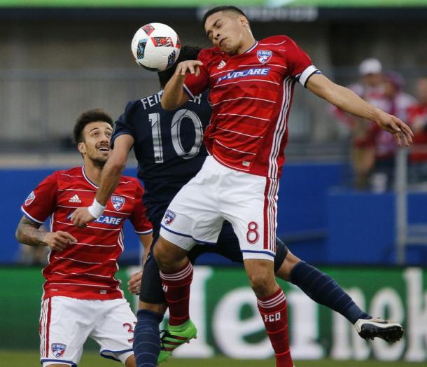 Every thing was contested for on Sunday between the two clubs at Toyota Stadium. Photo provided by