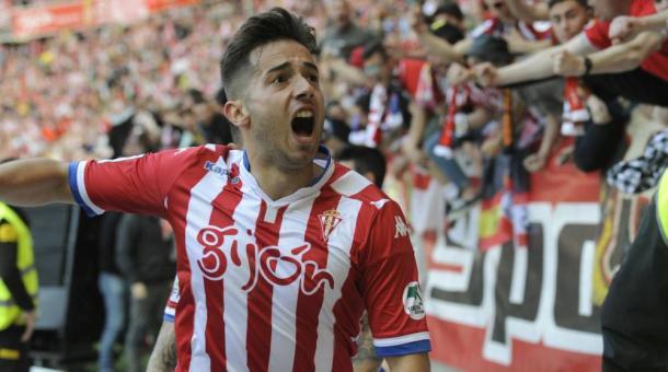 Jony celebra su último gol como rojiblanco. Foto: La Liga