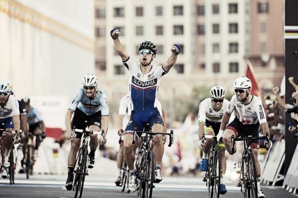 Sagan celebrando su segundo título | Foto: Pauline Ballet