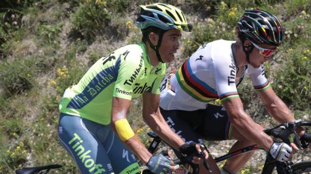 Alberto Contador y Peter Sagan juntos en el Tour de Francia | Fotografía: Tour de Francia.