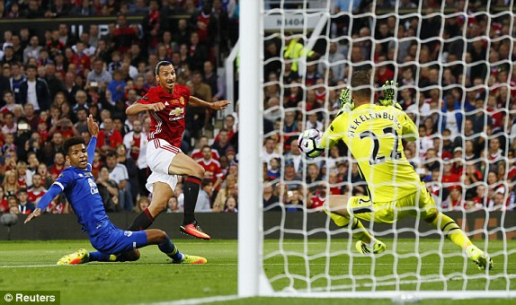 Above: Zlatan Ibrahimovic having a shot in Manchester United's 0-0 draw with Everton | Photo: Reuters