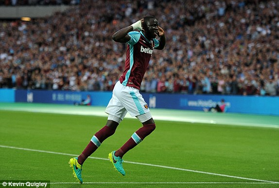 Above: Cheikho Kouyate celebrating one of his two goals in West Ham's 3-0 win over NK Domzale | Photo: Kevin Quigley