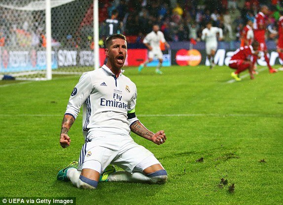 Above: Sergio Ramos celebrating his late equaliser in Real Madrid's 3-2 win over Sevilla | Photo: UEFA via Getty Images