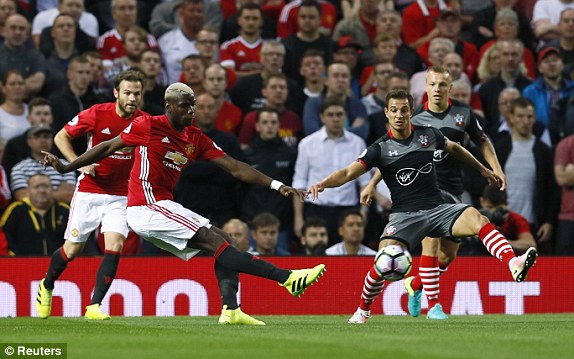 Above: Paul Pogba having a shot on goal in Manchester United's 2-0 win over Southampton | Photo: Reuters
