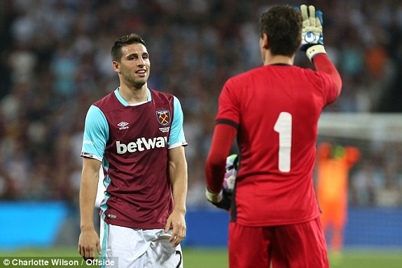 Above: Jonathan Calleri during West Ham's 1-0 defeat to Astra Giurgiu | Photo: Charoltte Wilson/Offside