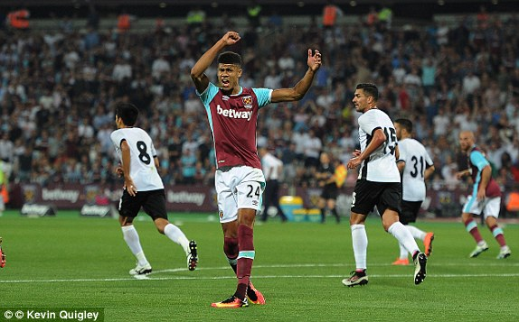 Above: Striker Ashley Fletcher growing frustrated in West Ham's 1-0 defeat to Astra Giurgiu | Photo: Kevin Quigley