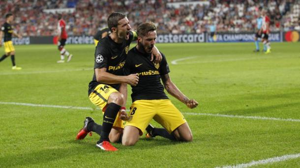 Sul esulta con Gabi. Proprio il gol del numero 8 ha deciso il match d'andata. Fonte foto: as.com