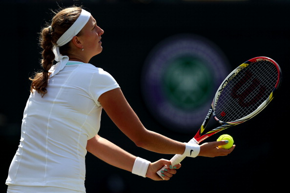Kvitova's left-handed serves is a real weapon on grass. Photo credit: Clive Rose/Getty Images.