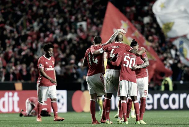 El Benfica en un partido de la pasada edición de la Champions League/ Foto: Twitter Benfica