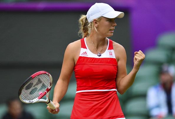 Caroline Wozniacki celebrates a point at the London 2012 Olympics/Getty Images