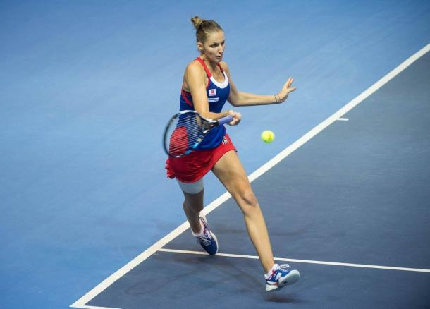 Pliskova pulling away in the decider | Photo: Fed Cup