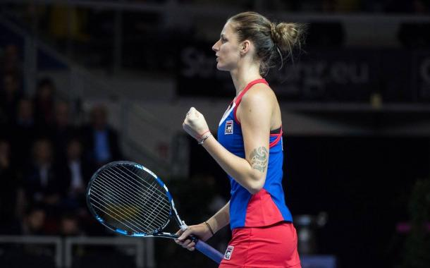 Pliskova riding out the opening set to take it 6-3 | Photo: Fed Cup