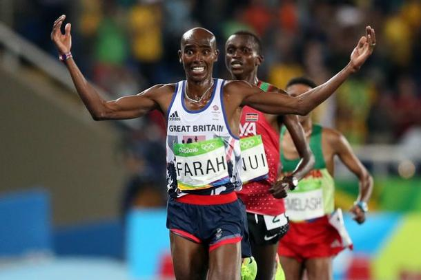 Mo Farah successfully defended his 10,000m Olympic title in Rio. | Photo: Getty Images